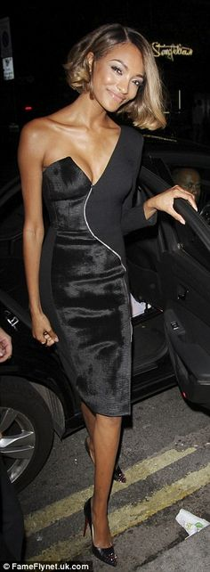 Supermodel looks: Jordan looked picture perfect from all angles as she stepped out of her taxi