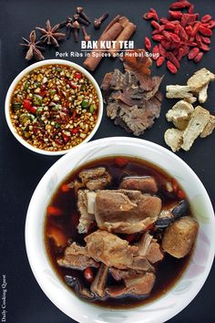 Bak Kut Teh - Pork Ribs in Spices and Herbal Soup - Daily Cooking Quest Malaysian Cuisine, Malaysian Food, Malaysian Recipes, Pork Recipes, Asian Recipes, Cooking Recipes, Confinement Food, Chinese Soup Recipes, Asian Soup