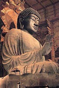 Located at Tōdaiji Temple 東大寺 in Nara, this bronze statue embodies Birushana Nyorai. Over the centuries, the statue (first cast in 752) has been damaged in various fires, natural disasters, and civil disturbances, but it has always been restored.