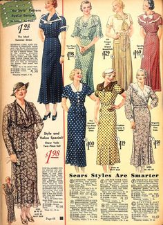A lovely array of 1930s patterned dresses.