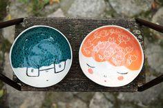 SET de 2  bol en céramique à la main  par MarinskiHeartmades