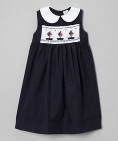 Look what I found on #zulily! Navy Sailboat Smocked Dress - Infant, Toddler & Girls by Sweet Dreams #zulilyfinds