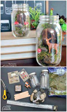 DIY Fairy Garden Mason Jar Terrarium - 130 Easy Craft Ideas Using Mason Jars for Spring & Summer - DIY & Crafts