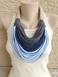 Sewing fashion ideas infinity scarfs 16 ideas for 2019 Yarn Necklace, Fabric Necklace, Scarf Jewelry, Textile Jewelry, Fabric Jewelry, Diy Jewelry, Jewelry Making, Necklaces, Diy Scarf