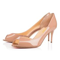 #FSJshoes - #FSJ Shoes Nude Peep Toe Patent Leather Stiletto Heel Pumps - AdoreWe.com
