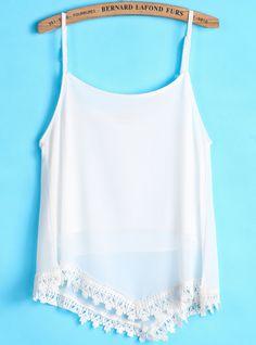 White Spaghetti Strap Lace Vest - Sheinside.com