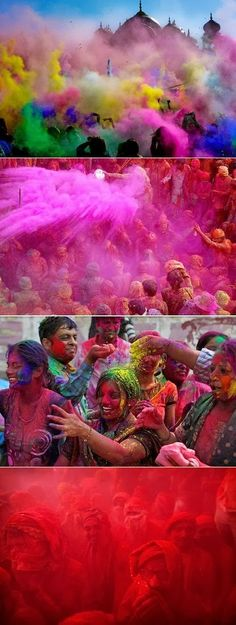 Spring Festival Of Colour. The Holi festival. It's one of those amazing Hindu spring traditions where participants throw bright scented powder and perfume at each other in celebration of the new season. Festivals Around The World, Places Around The World, Oh The Places You'll Go, Places To Travel, Around The Worlds, Holi Festival India, Holi Festival Of Colours, We Are The World, Wonders Of The World