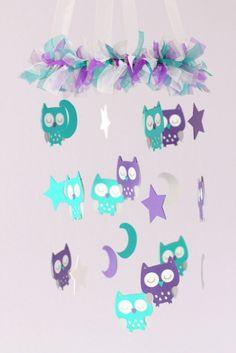 Owl Baby Nursery Mobile in Purple Teal Gray  by LoveBugLullabies