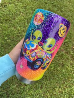 Zoomer and Zorbit Lisa Frank Glitter Tumbler Loose Glitter, Glitter Cups, Glitter Tumblers, Mason Jar Cups, Toy Story Shirt, Cute Car Accessories, Small Canvas Art, Pokemon, 90s Cartoons