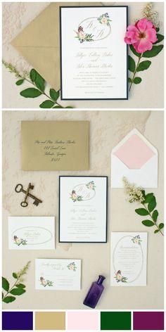 pretty floral wreath wedding invitation for elegant rustic wedding - tiger lily invitations