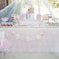 Pink tulle ruffle table cloth and skirt