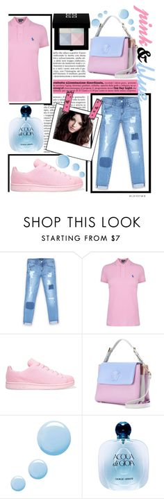 """pink and blue"" by teto000 ❤ liked on Polyvore featuring Bebe, Polo Ralph Lauren, adidas Originals, Versace, Topshop, Giorgio Armani, Givenchy, Pink and Blue"
