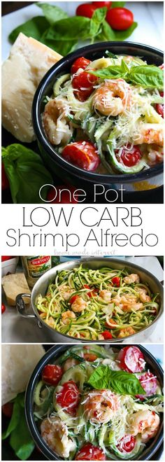 Business Cookware Ought To Be Sturdy And Sensible One Pot Low Carb Shrimp Alfredo This Easy One Pot Meal Is A Combination Of Shrimp, Fresh Tomatoes, Zucchini Noodles, And Creamy Alfredo Sauce. This Easy Low Carb Shrimp Alfredo Recipe Only Takes Minutes To Seafood Recipes, Keto Recipes, Cooking Recipes, Healthy Recipes, Keto Foods, Healthy Foods, Shrimp Alfredo Recipe, Alfredo Sauce, Alfredo Noodles