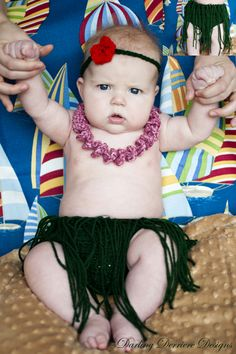 Hula Skirt, Lei, and Flower Headband Diaper Cover