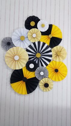 Bumble Bee Black and Yellow Party Pinwheel Rosettes Paper Fans, Bee Day Decor, Birthday, Baby Shower, Photography Photobooth Backdrop by eventprint on Etsy