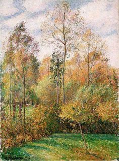 Camille Pissarro - Autumn, Poplars, Eragny, 1894 at Denver Art Museum - Denver Colorado Claude Monet, Paul Cezanne, Camille Pissarro Paintings, Post Impressionism, Impressionist Paintings, Oil Paintings, Oil Painting Reproductions, Renoir, Paris