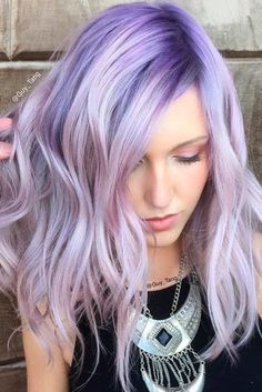 59 Lovely Lavender Hair Color Shades & Dye Tips - Hair - Hair Lavender Hair Colors, Lilac Hair, Hair Dye Colors, Hair Color Shades, Cool Hair Color, Lavender Highlights, Brown Ombre Hair, Purple Ombre, Deep Purple