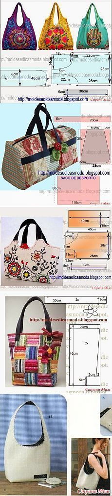 How to sew a simple bag Patchwork Bags, Quilted Bag, Purse Patterns, Sewing Patterns, Tote Pattern, My Bags, Purses And Bags, Sacs Tote Bags, Sac Week End