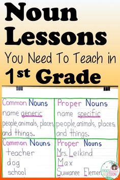 5 Noun Lessons You Need to Teach in Grade - Part 3 Singular And Plural Nouns, Possessive Nouns, Nouns And Verbs, Teaching Nouns, Teaching Writing, Teaching Resources, Teaching Ideas, Noun Chart, Noun Anchor Charts