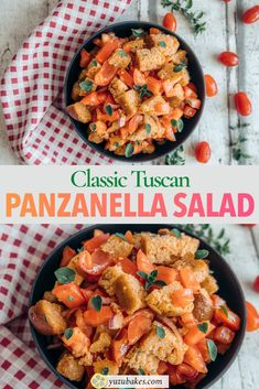 This is an original Tuscan Panzanella recipe made with tomatoes, croutons, onion and olive oil. Learn how to make original Panzanella salad with this recipe Panzanella Salad Recipe, Vegan Finger Foods, Whole Food Recipes, Cooking Recipes, Vegan Starters, Vegetarian Italian, Vegan Lunches, Vegan Main Dishes, Delicious Vegan Recipes