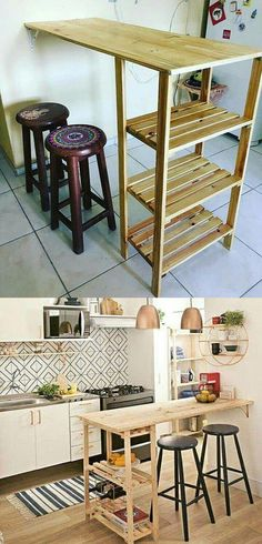 Wooden Pallet Pallet kitchen table - Assemble the bulk of wine bottles on the durable pallet furniture with wine rack. The pallet furniture aids in instantly boosting up of home interior and decor. Pallet Kitchen, Interior, Home Furniture, Furniture Plans, Home Decor, Diy Furniture Projects, Rustic Furniture Diy, Diy Furniture Table, Homemade Furniture