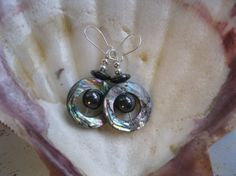 Abalone Earrings Natural Shell Black Hematite by SimplyStephanies, $26.00