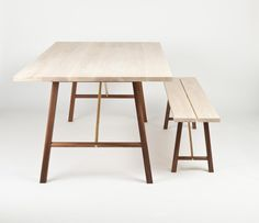 A blend of Japanese and Scandinavian aesthetics are used to create this table and bench.