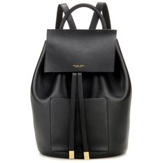 Michael Kors Collection Miranda Large Leather Backpack ($950) ❤ liked on Polyvore featuring bags, backpacks, black, day pack backpack, real leather backpack, rucksack bag, leather rucksack and michael kors