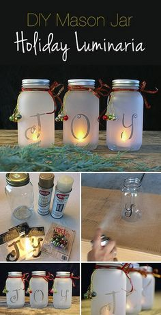 Do it Yourself Gift Basket Ideas fAmber BPA-Free Plastic Bottles with Black Lotion Pumps (Pack of DIY Mason Jar Holiday Luminaria! & Full tutorial showing you how to make these lovely mason jar Christmas luminaries! Christmas Jars, Homemade Christmas, Diy Christmas Gifts, Christmas Projects, Winter Christmas, Holiday Crafts, Christmas Holidays, Christmas Ideas, Holiday Ideas