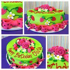 Beautiful strawberry birthday cake! Made here at ontario bakery