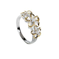 8-10-8mm Plumeria Clear CZ Rhodium Yellow Gold Plated Two Tone Ring - Makani Hawaii,Hawaiian Heirloom Jewelry Wholesaler and Manufacturer
