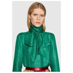 Gucci Gg Lurex Scarf Shirt (£745) ❤ liked on Polyvore featuring tops, loose tops, loose fit tops, green shirt, metallic shirt and green top