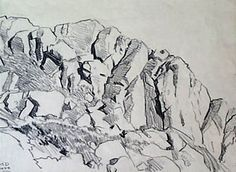 Realistic Drawing Techniques Pen drawing of rocks Mountain Sketch, Mountain Drawing, Nature Sketch, Nature Drawing, Landscape Sketch, Landscape Drawings, Art Sketches, Art Drawings, Drawing Rocks