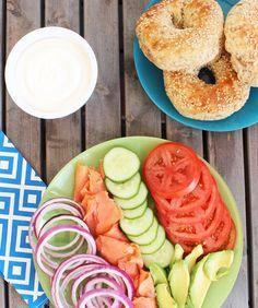 Bagel Brunch Idea: Bagel plate buffet