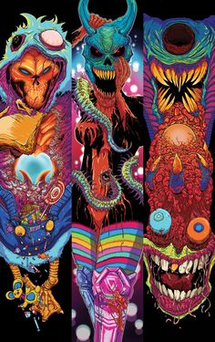 A small series of illustrations combining vibrant colors and monsters.