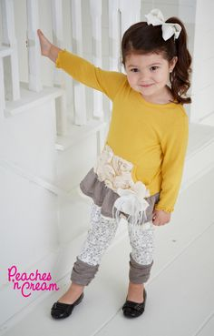 Precious Peaches n' Cream mustard legging set!  $60 sizes 2t, 3t, 4t.  Email to purchase: merrianandsid@gmail.com