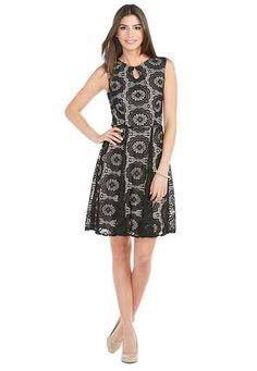Cato Fashions Belted Crochet Overlay Dress #CatoFashions