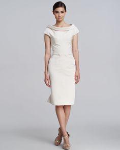 Zac Posen Silk Ruffle Back Dress in White (ivory)   Lyst