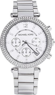Michael Kors Watches Silver And Glitz Chronograph Watch