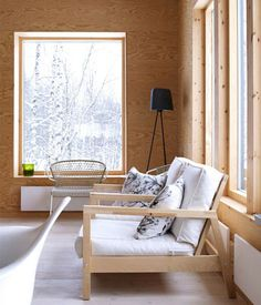 Plywood for interior decorating is a very popular material because the wood is very lightweight and flexible. Ceilings and covered with plywood, plywood House Design, Cabin Interiors, Interior Design, House Interior, Plywood Furniture, Furniture Design, Interior, Plywood Interior, Furniture
