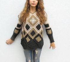 Crochet Granny Square Sweater. Geometric Womens by KrissWool