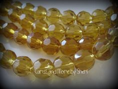 Faceted Glass Beads  8mm  Amber  40 beads by CardsAndMoreBySheri, $5.50