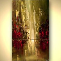 Abstract City Painting In Olive and Red - Abstract and Modern Art Painting