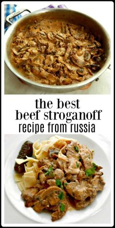 The Best Beef Stroganoff is so creamy, so delish! Almost a cheat to make - so easy. Recipe brought from Russia by my Aunt during the Cold War. #BeefStroganoff #BestBeefStroganoff