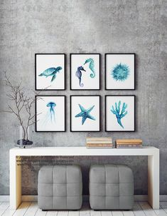 Oceanic Creatures Set 6 Art Prints, Blue Teal Watercolor Painting, Seahorse, Sea Turtle, Sea Urchin, Seaweed, Starfish, Jellyfish Wall Decor