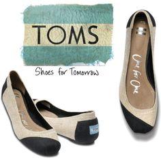 burlap and black Toms