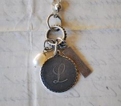 Initial Jewelry Antique Silver Monogram L Pendant FAITH by nanine, $22.99