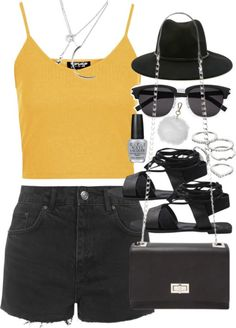 styleselection: Outfit with a yellow tank by ferned featuring...