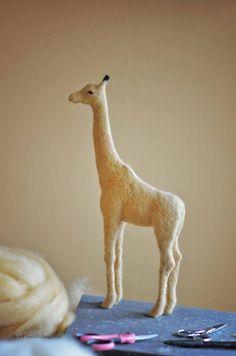 needle felting a giraffe with Teresa Perleberg