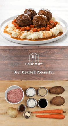 Beef Meatball Pot-au-Feu with mashed potatoes Creamy Mashed Potatoes, Peeling Potatoes, Hello Fresh Recipes, Cooking Wine, Recipe Steps, Butter Sauce, Home Chef, Food Safety, Chef Recipes
